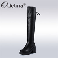 Odetina/2018 г. Новая мода 100% из коровьей кожи сапоги до колена на платформе с перекрестной шнуровкой Сапоги для верховой езды квадратный На высок