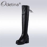 Odetina/2018 г. новые модные сапоги до колена из коровьей кожи 100% г. сапоги для верховой езды на платформе с перекрестной шнуровкой высокий квадра