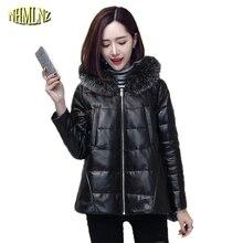 Winter Women Jacket True fox fur coat Fashion Loose Warm Hooded Sheep skin Long Winter True Leather Genuine leather coat WK260