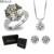 Conjuntos de Jóias de Casamento de Luxo AAA Zircão bague MDEAN Engajamento Anel + Brinco + Pingente de Acessórios de moda do vintage