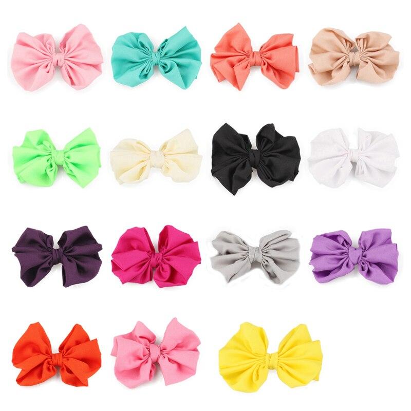 50 шт./лот 15 цветов 11 см оптовая продажа новорожденных высокой упругой вязать волосы луки ручной работы одноцветное цветок лук клип для Обувь для девочек женские аксессуары для волос