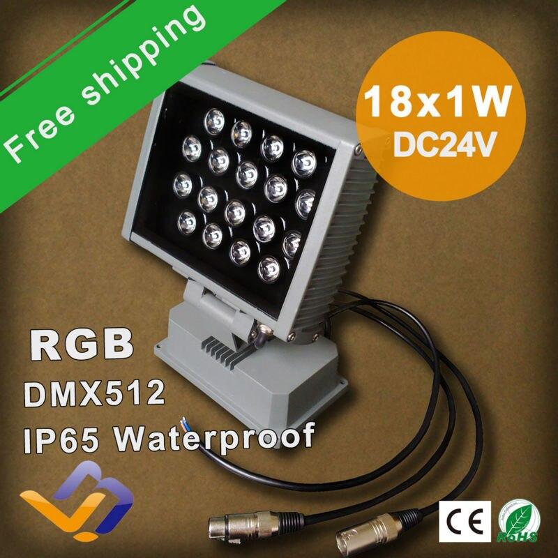 Бесплатная доставка 2 шт./лот 18 Вт LED Проект лампа высокой мощности красочные Rgb DMX512 открытый этапе Заливающее освещение Лампа IP65, DC24V