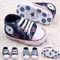 Classic Niños Baby Kids Boy Chicas Zapatos de Piso de Otoño Jeans de Moda Agujero Satrs Antideslizante Soft Toddlers Primeros Caminante