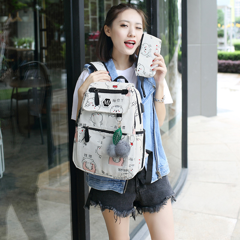 3 Pcs/set Usb Charging Canvas Women Backpack Printing School Backpacks Schoolbag For Teenagers Student Book Bag Girl Boy Satchel #6