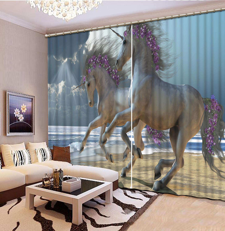 Personnaliser rideaux stéréoscopiques cheval long rideau pour le salon chambre fenêtre rideaux