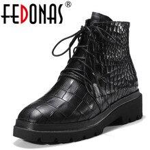 Fedonas 2018 панк Для женщин на высоком каблуке Ботильоны платформы перекрестной связали осень-зима теплые зимние мотоботы Невысокие туфли женские
