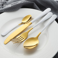 Luxury Dinnerware Set Stainless Steel 24Pcs Gold Tableware White Handle Table Knife Fork Teaspoon Cutlery For 6 Persons In Home