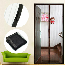 Высокое качество двери Шторы Magic Hands-Free Экран двери сетчатые летние Москитная сетка Шторы полиэстер двери Шторы Черный 210 см * 100 см