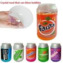 6 stks diy blikjes flash poeder transparant kristal modder bubble slime gekleurde modellering klei educatief intelligente speelgoed voor kinderen