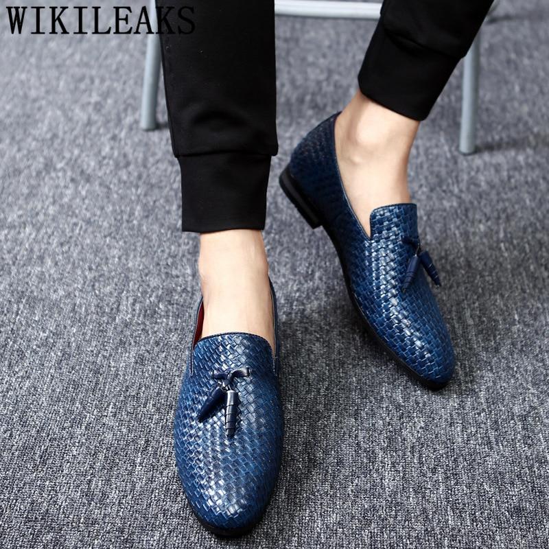 British Shoes Men Formal Loafers Men Office Shoes Coiffeur Leather Shoes Men Classic Black Wedding Dress Sepatu Slip On Pria