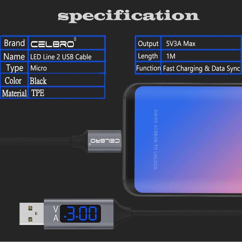 3A Cable Micro Usb Led pantalla Digital Cabo Micro-Usb para Xiaomi Redmi 8 7 8A 7A Nota 6 5 Pro Samsung Sarj Kablosu datos Microusb