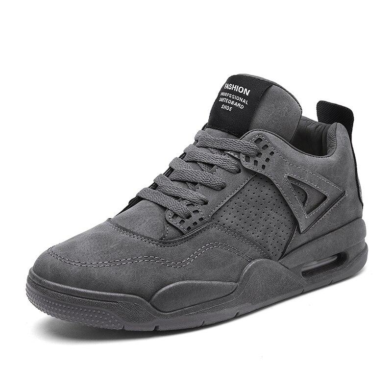 2017 חדש גברים אמצע העקב נעלי ריצה סתיו חורף לנשימה עור מפוצל חיצוני ספורט רטט דעיכת חם סניקרס Sneaker