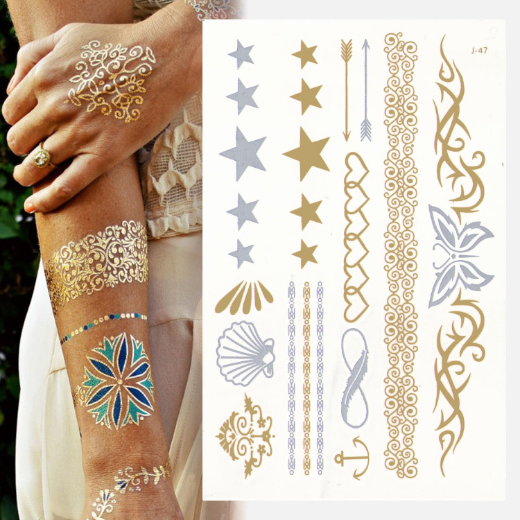 Henna Lace Bracelet Temporary Tattoo Sticker: 2015 Hot Sale High Quality Exquisite Silver Butterfly