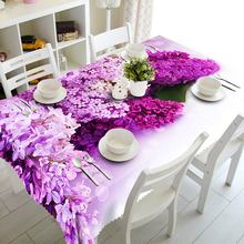 European Round 3D Tablecloth Purple Lavender Flowers Pattern Washable Polyester Cloth Rectangular Table cover Wedding Decoration