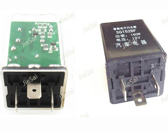 3 Pins blacktransparent Electronic LED Adjustable Flasher Relay For