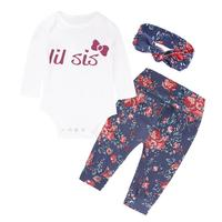 Newborn Infant Baby Girls Clothes Set Letter Tops Print Pants Hairband Outfit L9222