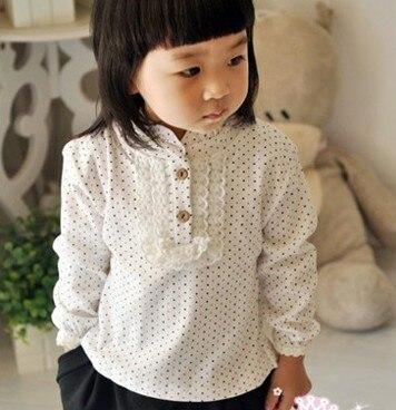 Девочка одежда дети хлопковые рубашки мода точка и плед стоять воротник пуловер laciness основной детская одежда