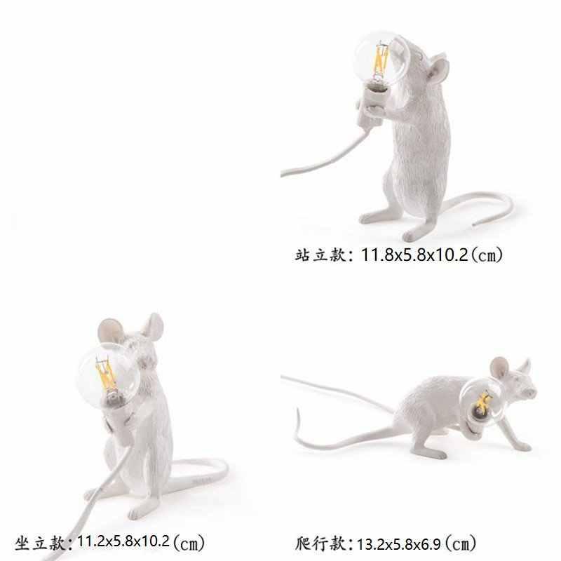 Nordic Resina Animale Ratto Del Mouse Lampada Da Tavolo Piccolo Mini Mouse Sveglio LED Luci Notturne Complementi Arredo Casa Scrivania Lampade Da Comodino Apparecchi Di illuminazione