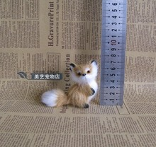 simulation fox toy model handicraft plastic fur mini 9x8cm brown fox home decoration toy Xmas gift
