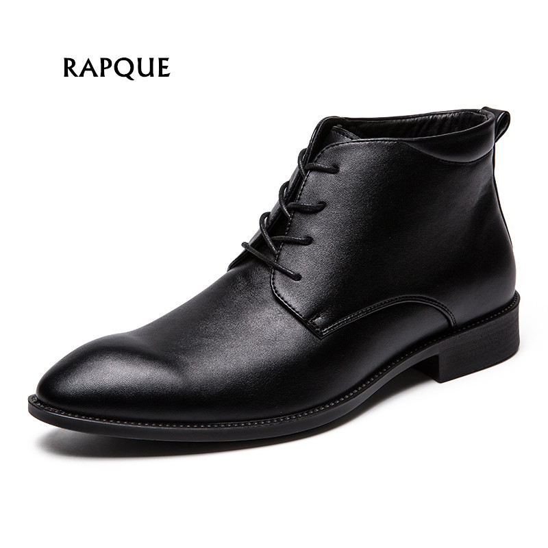 Genuine leather dress shoes men leather formal ankle shoes black men's business wedding shoes pointed toe high quality big size