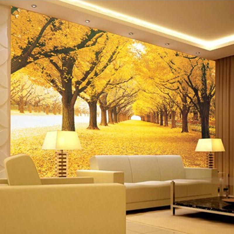 Great wall Modern 3d wall mural wallpaper,Golden grove large murals ...