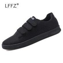 LFFZ Hook Loop Sneakers Men Fashion Design Breathable Men Casual Shoes High Quality Men Vulcanize Shoes Durable Men Flat Shoes