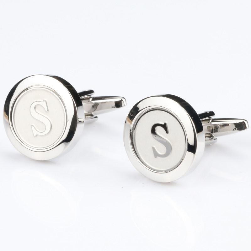 Mens Classic Initial Cufflinks Alphabet Letter silver Cufflinks Formal Business Wedding Shirts R-Z