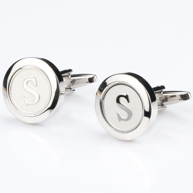 Mens Classic Initial Cufflinks Alphabet Letter Silver Cufflinks Formal Business Wedding Shirts R-Z