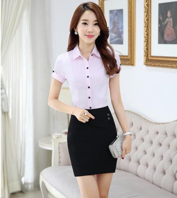 Estilos Uniforme Profissional Das Mulheres formais Trabalho Ternos Tops E Camisas Outfits Define Escritório Senhoras Saia Feminina Roupas Plus Size
