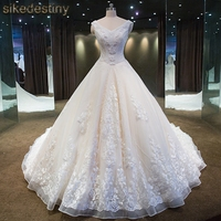 Real Photo V Neck Bridal Gown Strapless Lace Up Beaded Lace Royal Train Wedding Dresses Custom