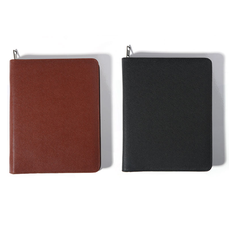 Business office leather padfolio, Zippered manager folder/multi function personal agenda planner organizer spiral notebooks A5 clipboard folder portfolio multi function leather organizer study office manager clip writing pads legal paper contract