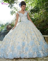 Luxury Beaded Flowers Sweet 16 Dresses Ball Gown Quinceanera Dresses 2019 Appliques Lace Debutante Dress for Vestido de 15 anos