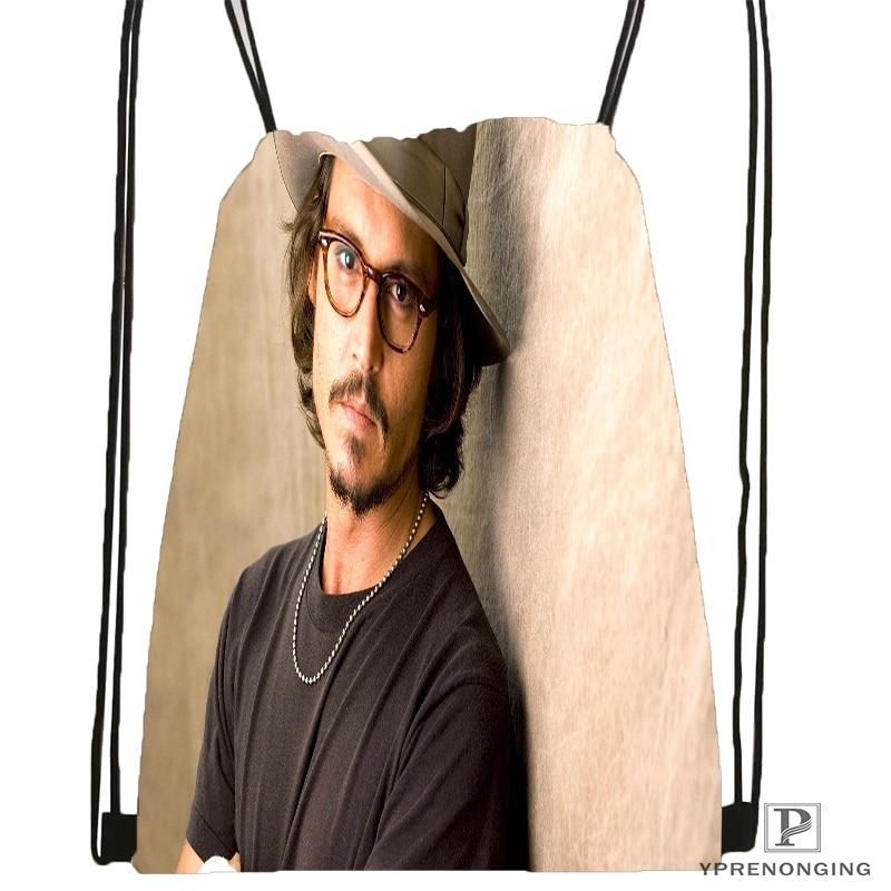 Custom Johnny Depp Drawstring Backpack Bag Cute Daypack Kids Satchel (Black Back) 31x40cm#180531-03-79