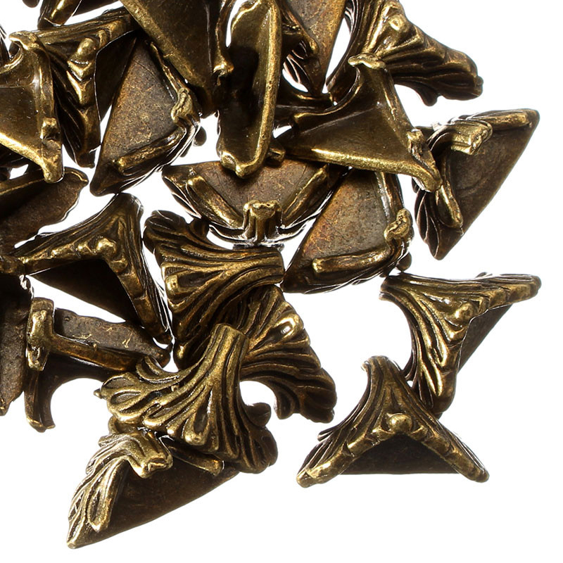 New Arrival 30PCs 19mm X 11mm  Antique Bronze Pattern Carved  Box   Desk Box Edge 30 X Box Corner Foot Protector