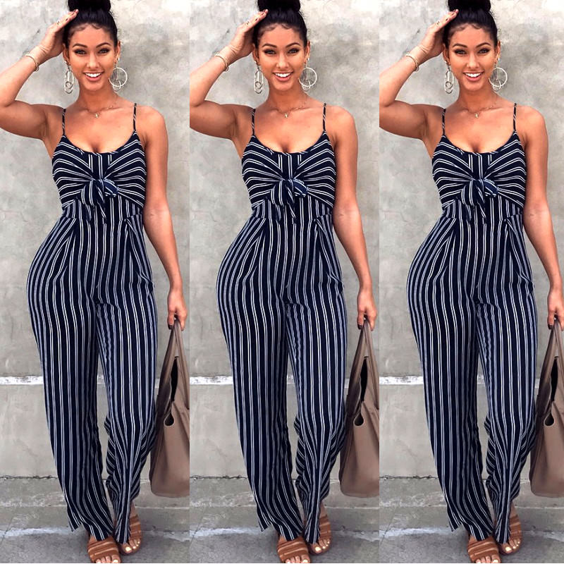Summer New Women Bodycon Blue Striped Loose Jumpsuits Sexy Casual Jumpsuits Bowtie Overalls Bow Plus Size