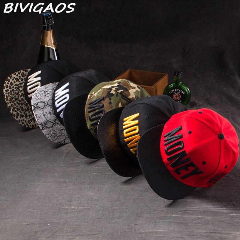 جديد أزياء الرجال المرأة عارضة snapback القبعات غنيمة المال خطابات 3d التطريز الهيب هوب قبعة بيسبول العظام gorras للرجال النساء