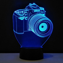 Camera 3D Lamp plexiglas plate LED 7 Colors Lampara Infantil USB Night Light light fixtures Touch Switch lampen christmas Gift