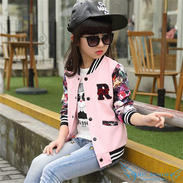28aa37f4e Big Girls Bomber Jacket Coat 2018 Spring Autumn Toddler Kids Floral ...