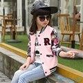 Big Girls Brasão Bomber Jacket 2016 Moda Outono Criança Crianças Floral Impresso Ternos Jaqueta Blazer Casaco Infantil de Roupas Esportivas