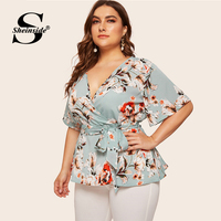 Sheinside Plus Size Casual Floral Print V Neck Blouse Women 2019 Summer Half Sleeve Belted Blouses Ladies Boho Wrap Top