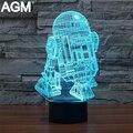 Star Wars R2D2-B Mesa Táctil lámpara de Luz Nocturna 7 Colores RGB cambio de lámpara 3D Dormir Lamparas Luz de Acrílico 3D USB LED lámparas