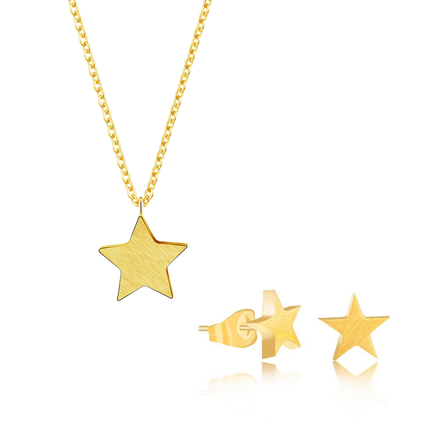 a52529b5cd Dainty Small Star Pendant Necklace Stud Earring Jewelry Sets Stainless Steel  Tiny Stars Baby Girls Women