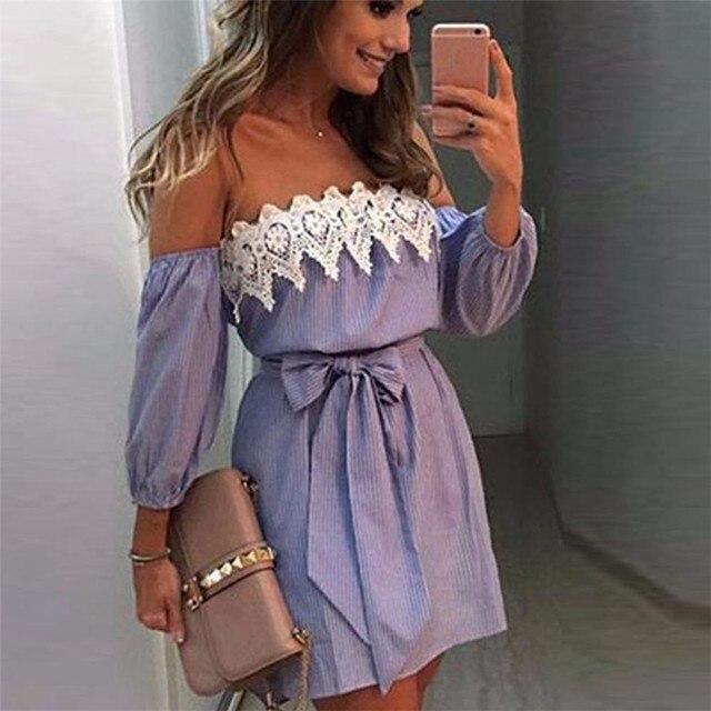 Women dress Off Shoulder Waist Lace Dress Casual Sleeveless Short Mini Dress  Dresses For Female vestir robe vestido  25 d532f9f62