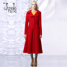 Jungle Me 2017 Spring Winter New Vintage Elegant Long Coats Women Suit Turn Down Collar Red Slim Wool Trench Coat M161WT004