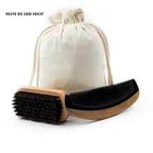 100% натуральный борода кисти кабана щетка для волос сандалового дерева рог гребень для Для мужчин медведь Уход подарок усы щетка может гравировка логотипа + хлопок сумка