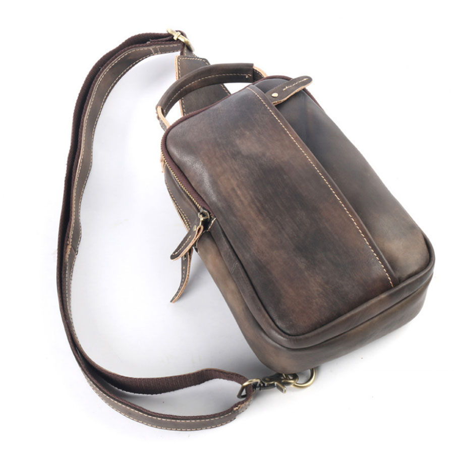 New Vintage Cowhide Men Single Shoulder Messenger Bag Travel Casual Crossbody Bags Male Genuine Tanned Leather Sling Chest Bag aerlis brand men handbag canvas pu leather satchel messenger sling bag versatile male casual crossbody shoulder school bags 4390