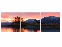 3 Piece hot sell HD photography lake mountain scenery image modern home decoration art canvas painting Print Frame QJFJ3-50