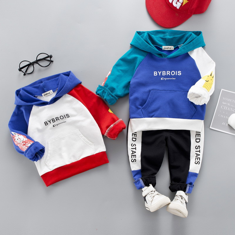 0-4 years High quality boy girl clothing set 19 new spring active patchwork kid suit children baby clothing Hoodies+pant 2pcs 3