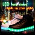 8 Colores de Gran Tamaño 2016 de Carga USB Hombres Zapatos Luminosos LED Que Brilla Intensamente Hightops Zapatillas Que Emite Luces de Zapatillas Deportivas