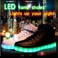 8 Cores Tamanho Grande 2016 de Carregamento USB Homens Hightops Sapatos Luminosos LED Brilhante Emitindo Luzes Zapatillas Zapatillas Deportivas